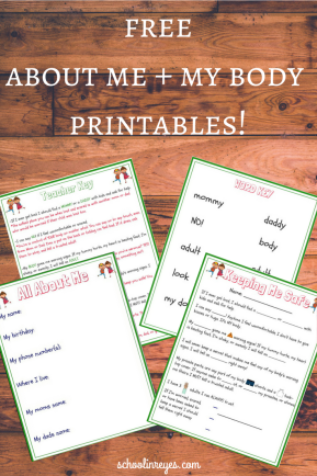 Free about me and my body printables